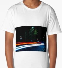 Long Exposure of Cars Passing By Long T-Shirt
