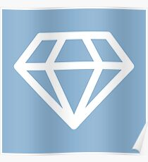White Diamond on Light Blue Ground Poster