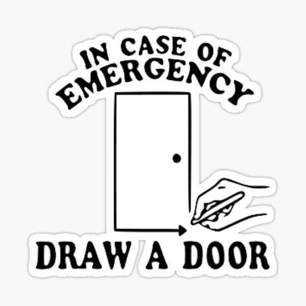 Dibuja una puerta. Pegatina