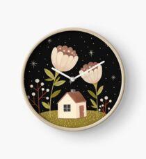 Tiny house among flowers Clock