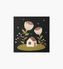 Tiny house among flowers Art Board