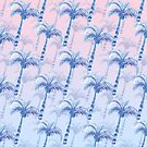 Pink Blue Palm Tree Grove by Ekaterina Chernova