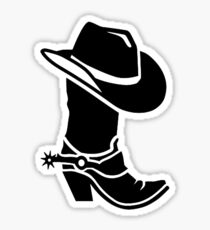 Cowboy boot hat Sticker