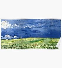 Wheatfield under thunderclouds Poster