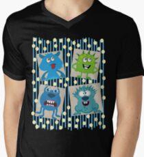 Polka-dot Monsters Mens V-Neck T-Shirt