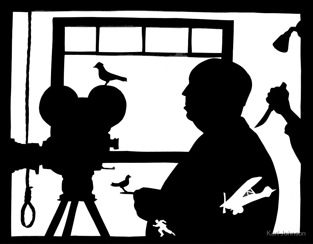 Hitchcock Silhouette Print by Karl Johnson