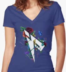 Pamaj Austin Flower Logo Women's Fitted V-Neck T-Shirt