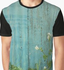 natural wild flowers outdoors blue metal fence texture Graphic T-Shirt