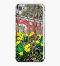 Yellow daffodils and an old red house. iPhone Case/Skin
