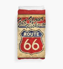ROUTE 66: Vintage Highway Sign Print Duvet Cover