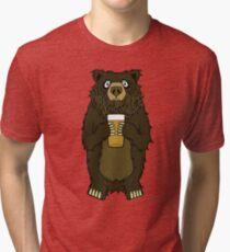 Brown Bearded Beer Bear Tri-blend T-Shirt