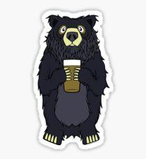 Black Bearded Beer Bear Sticker