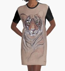 UNFINISHED BUSINESS - Original Tiger Drawing - Mixed Media (acrylic paint & pencil) Graphic T-Shirt Dress