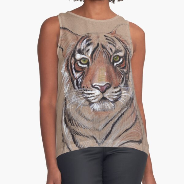 UNFINISHED BUSINESS - Original Tiger Drawing - Mixed Media (acrylic paint & pencil) Sleeveless Top
