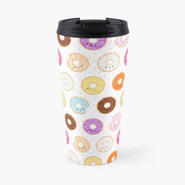 Happy Kawaii Donuts Pattern Travel Mug