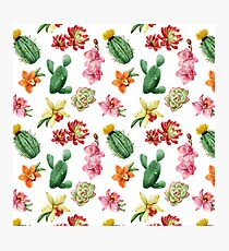 Cactus and Orchid Pattern Photographic Print
