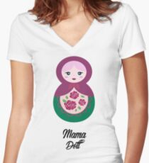 Mama Doll Women's Fitted V-Neck T-Shirt