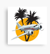Cartoon Retro Airplane Canvas Print