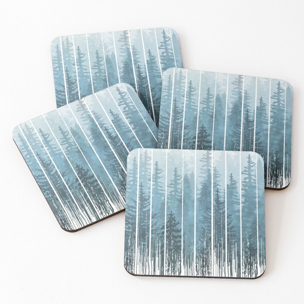 Grunge Dripping Turquoise Misty Forest Coasters (Set of 4)