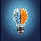 Symbol of idea with the brain shape left and right by Jatmika Jati
