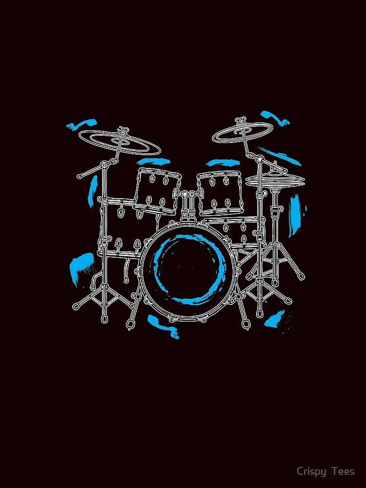 Cool Hand Drawn Drummer Set T-Shirt - Band Tee\