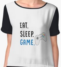 Eat Sleep Game - Girl Gamer Boy Gamer - PC Gamer, Console Gamer - Funny Gaming Gift Chiffon Top