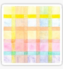 Pastel colored Watercolors Check Pattern  Sticker