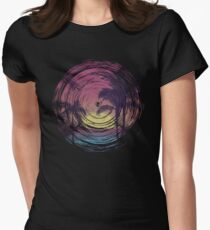 Spiral Grunge Sunset Beach Womens Fitted T-Shirt