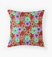Flowers and Daisys Pattern Throw Pillow