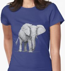 Hand drawn pencil illustration of elephant Womens Fitted T-Shirt
