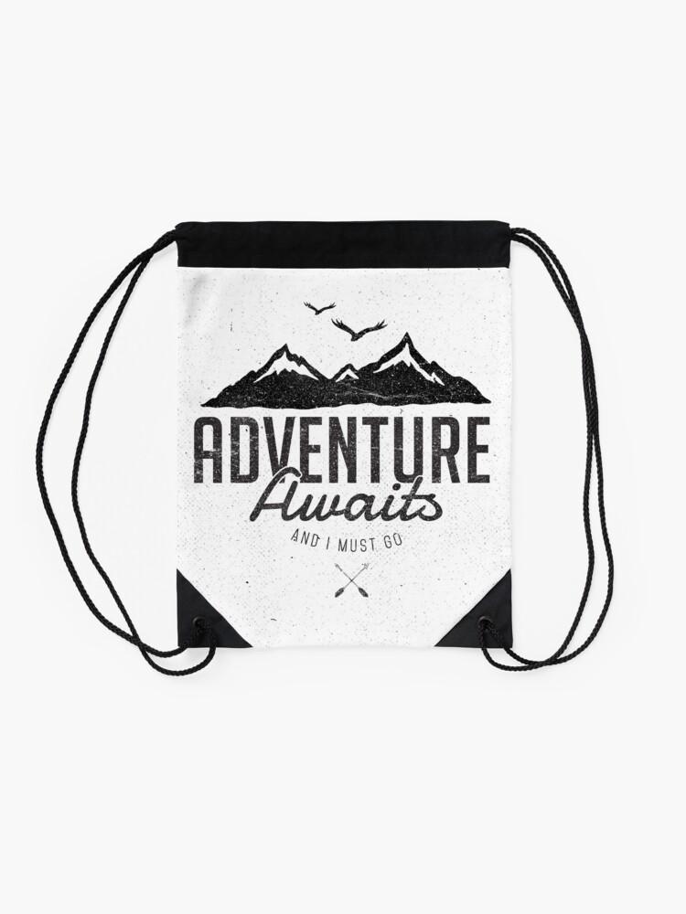 Alternate view of ADVENTURE AWAITS Drawstring Bag