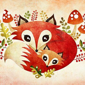 Fox Mom & Pup by sandygrafik