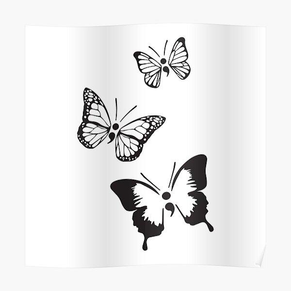 Semicolon Butterflies Poster