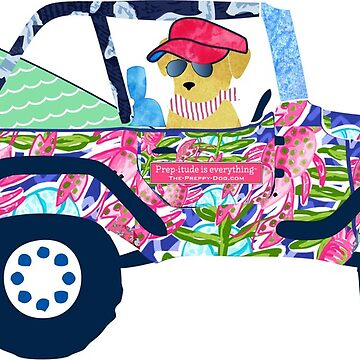 Preppy Jeep Golden Retriever Puppy - Island Vacation by emrdesigns