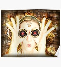 Steam Punk Lady with Binoculars Poster