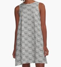 Dackel Print GRAU A-Linien Kleid