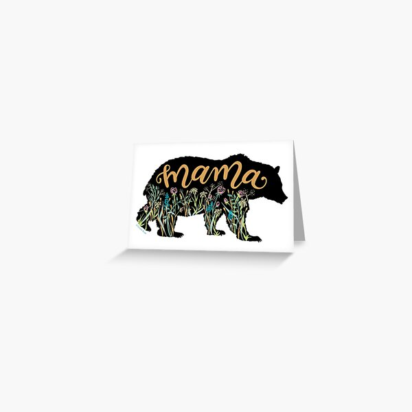 Mama Bear with Wildflowers Hand Lettered Illustration Greeting Card