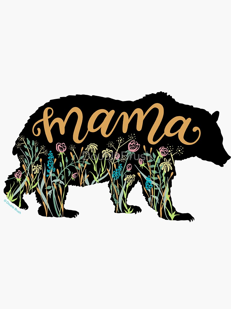 Mama Bear with Wildflowers Hand Lettered Illustration by DoubleBrush