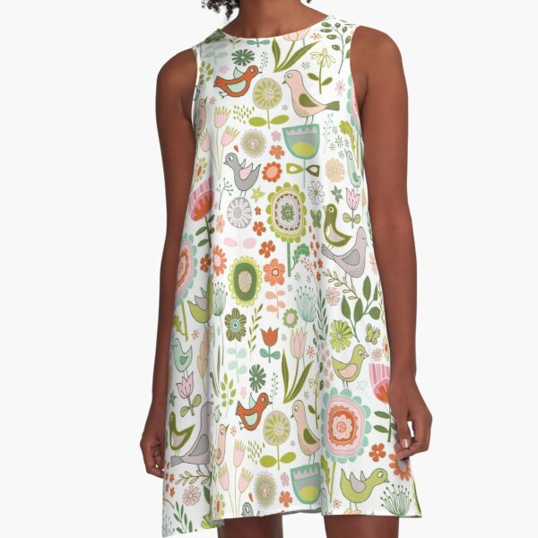 Birds and Blooms - Springtime - Pretty Floral Bird Pattern by Cecca Designs A-Line Dress