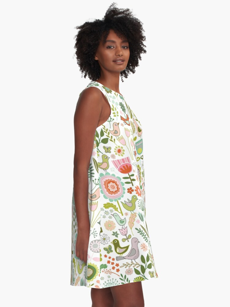 Alternate view of Birds and Blooms - Springtime - Pretty Floral Bird Pattern by Cecca Designs A-Line Dress