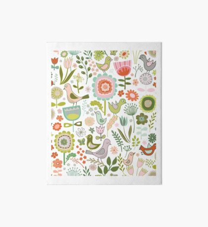 Birds and Blooms - Springtime - Pretty Floral Bird Pattern by Cecca Designs Art Board