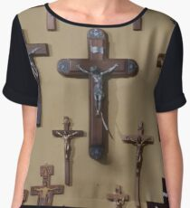 Wall of Crucifixes Chiffon Top