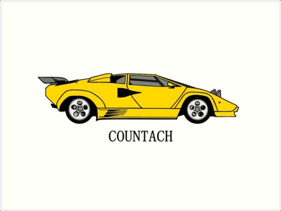 Lamborghini Countach Design Art Prints By Kim Pearton Redbubble