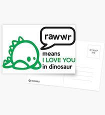 RAWWR - means I love you in dinosaur Postkarten