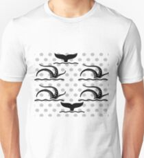 Octopus and Whale PokaDots Black and Gray T-Shirt