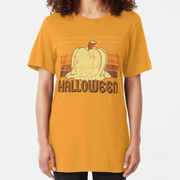 Retro Halloween (Words Version) Slim Fit T-Shirt