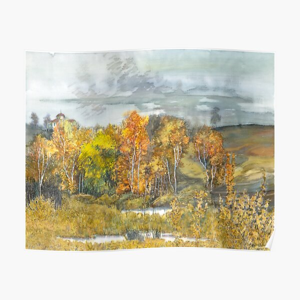 Autumn  painting watercolor  Poster