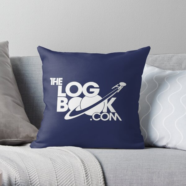 theLogBook.com New Logo in white - warp-capable Throw Pillow