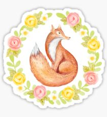 Watercolor Fox and Floral Wreath Sticker
