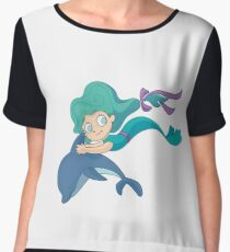 Little mermaid swimming with a dolphin Chiffon Top